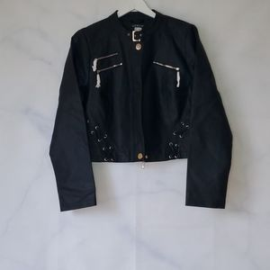 NWT - Venus Faux Leather Cropped Lace Up Jacket